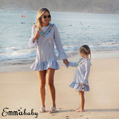 AU Mother and Daughter Clothes Bow Blue Dress Family Matching Outfits Baby Girl