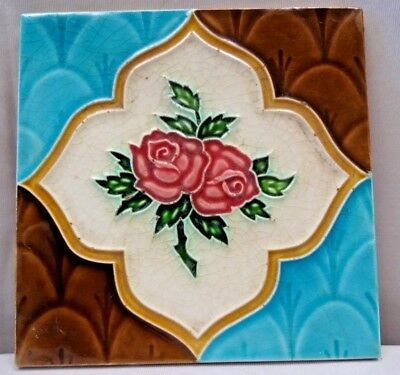 Majolica Tile Vintage Art Nouveau Ceramic Glazed Saji Japan Rare Collectible#462