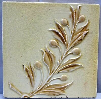 Tile Minton Vintage Leaf Branch Design Light Green Porcelain England Collecti#96