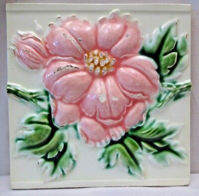 Majolica Tile Vintage Art Nouveau Ceramic Glazed Saji Japan Embossed Rose #465