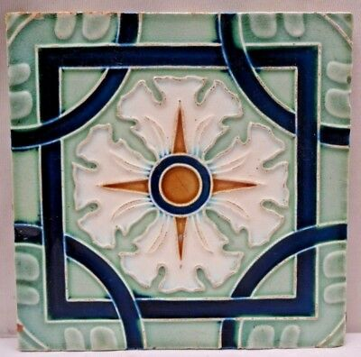 Majolica Tile Vintage Art Nouveau Ceramic Glazed Saji Japan Geometric Patter#467