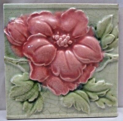 Majolica Tile Vintage Art Nouveau Ceramic Glazed Saji Japan Embossed Rose #469