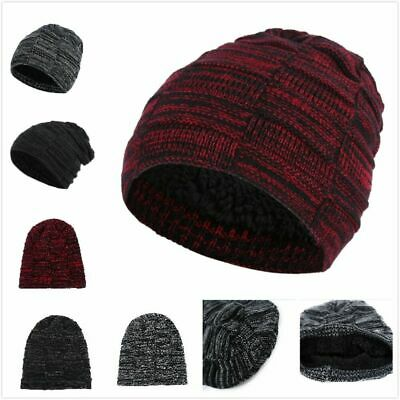 Autumn Winter Warm Fleece Lining Knitted Hat Unisex Loose Elastic Beanie Cap A9