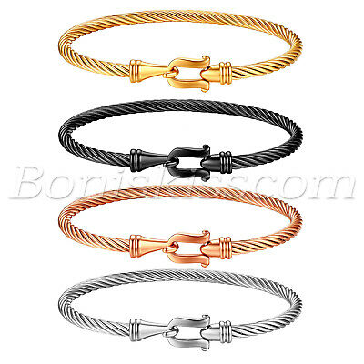 Women Stylish Stainless Steel Cable Wire Twisted Hook Clasp Cuff Bangle Bracelet