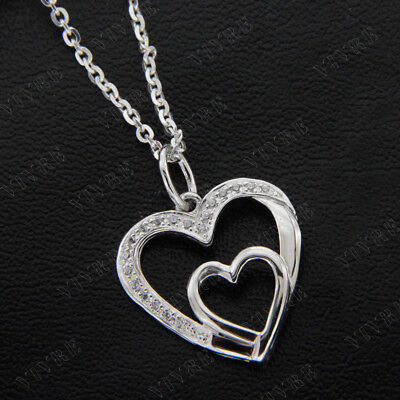 Double Heart Pendant Necklace 0.10 ct Round Cut Real Diamond 14k White Gold Over