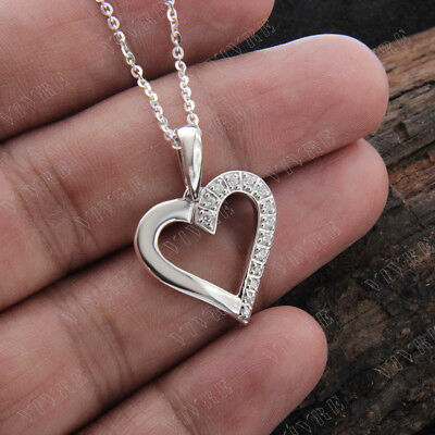Natural Diamond Heart Pendant Necklace 925 Sterling Silver 14k White Gold Over