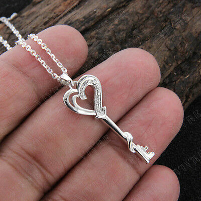 0.06 ct Real Diamond Heart Key Pendant Necklace 925 Silver 14k White Gold Over