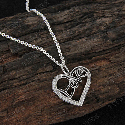 """0.10 ct Round Real Diamond Love Heart Pendant 16"""" Necklace 14k White Gold Over"""