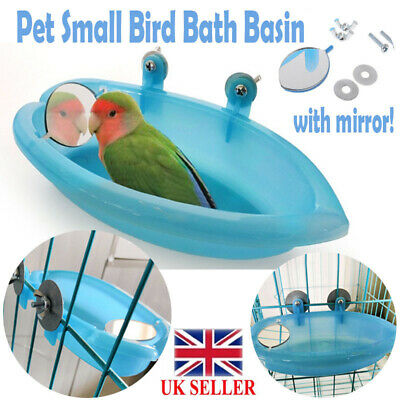 Small Parrot Oval Bird Bathtub Pet Cage Accessories Toy With Bird Mirror  UK
