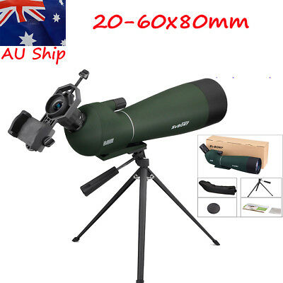 SV28 20-60x80mm BAK4 Prism Refractor Angled Spotting Scope For Bird Watching AU