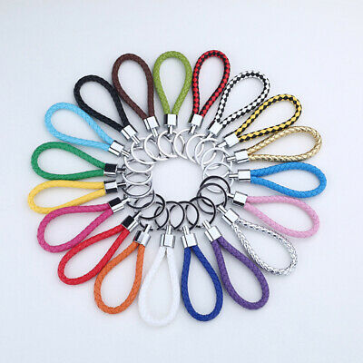 Candy Colors PU Leather Keychain Handwork Woven Rope Car KeyRing Key Chain Ring