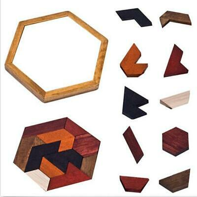 KIDS WOODEN HEXAGON Tangram Jigsaw Puzzles Brain Puzzle Games 8C