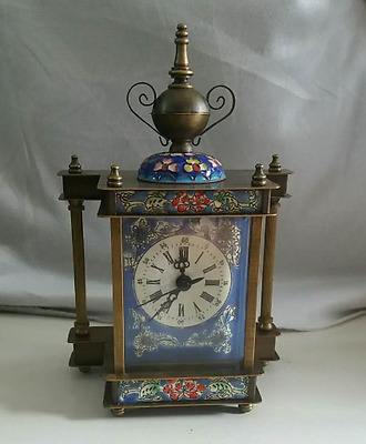 pretty Chinese Cloisonne Copper machinery mechanical Device timepiece clock