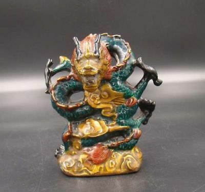 Handmade Carving Statue Dragon Copper Cloisonne Coloured drawing W Qing Mark