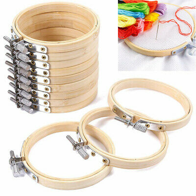 10Pcs DIY Embroidery Circle Bamboo Hoops Cross Hoop Ring Support Aid Hand Crafts