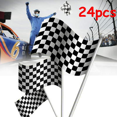 24pcs Black White Chequered Hand Waving Flag F1 Formula One Racing Banners