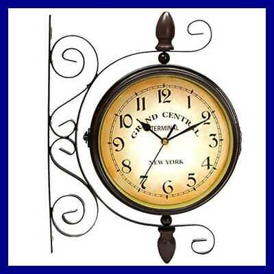 "Puto Vintage Inspired Double Sided Wall Clock 8"" Wrought Iron Train Station Styl"