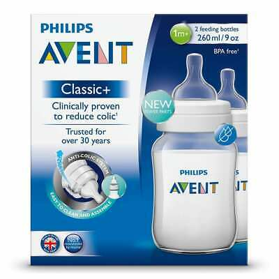 Philips Avent Classic Plus 2 Feeding Bottles 260ml 1m+ Easy to Assemble