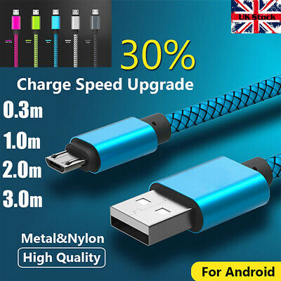 Heavy Duty Braided Long Fast Charge Micro USB Data Cable Charging Lead Andriod