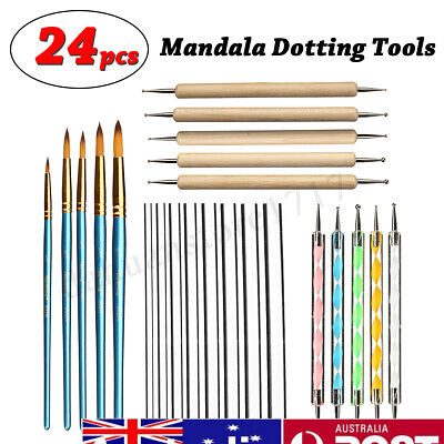 24X Dotting Tools Mandala Painting Drawing Acrylic Pen Nail Brush Art DIY Set