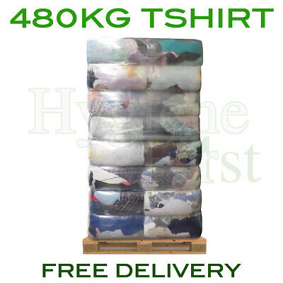 480kg Bulk Pallet Of Cotton T-Shirt Cloths Rags Wipers Wiping Cleaning Polishing