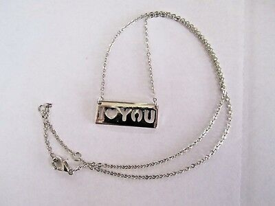"""* Silver Tone Costume Cable Link Chain With """"i Love You"""" Charm Plate Nameplate"""