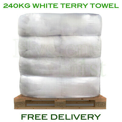 240kg Bulk Pallet Of White Terry Towel Cloths Rags Wipers Wiping Cleaning Polish