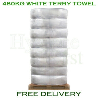 480kg Bulk Pallet Of White Terry Towel Cloths Rags Wipers Wiping Cleaning Polish
