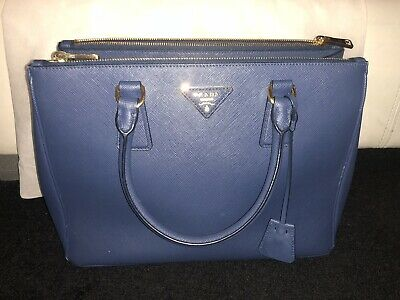 f70a29fb165ae PRADA BLUE SAFFIANO Lux Leather Medium Double Zip Tote Bag BN2274 ...