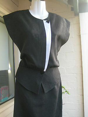 2 piece 8-10 black & white vintage set suit batwing-top & long pencil skirt EC