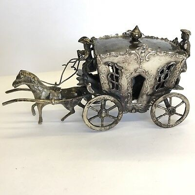 Fine Antique Solid Silver Miniature Horse Drawn Carriage Zwolle Dutch 9.5cm