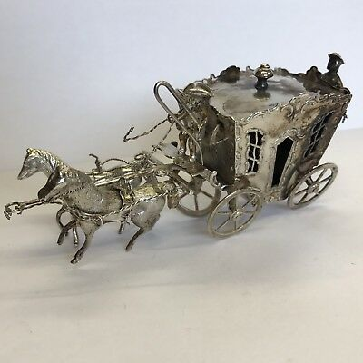Antique Solid Silver Miniature Horse Drawn Carriage Dutch 10.5cm S Landeck 1893