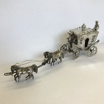 Fine Antique Solid Silver Miniature Horse Drawn Carriage Dutch 16.5cm