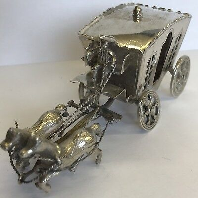 Fine Antique Solid Silver Miniature Horse Drawn Carriage Zwolle Dutch 10.5cm