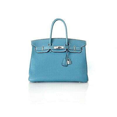 ffa3a0efbb97 Hermes 2006 Blue Jean Togo Leather Medium Birkin 35 with Silver Hardware  Handbag