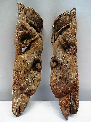Antique Corbels Bracket Indian Art Hand Carved Wooden Architecture Collectible