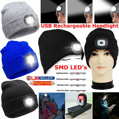 Unisex LED Beanie Hat High Powered Head Lamp Light With USB Rechargeable Battery
