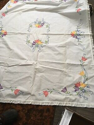 vintage hand embroidered tablecloth Tulips