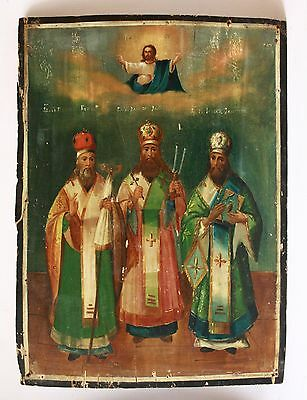 Antique 19th C Russian Hand Painted Wooden Icon of Selected Saints