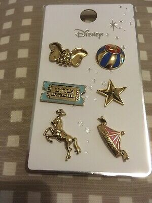 Disney Primark Dumbo Set of 6 Pin Badges Elephant Circus Tent Ticket Star Ball