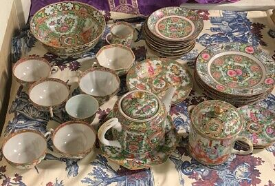 Vintage Large Mixed Lot Chinese Rose Medallion Bowls Cups Plates Teapot