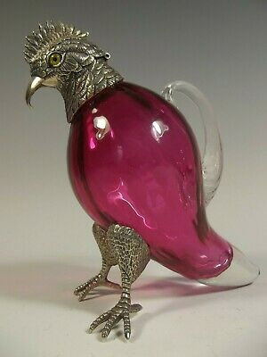 English Silver Plate Cranberry Glass Cockatoo Bird Decanter