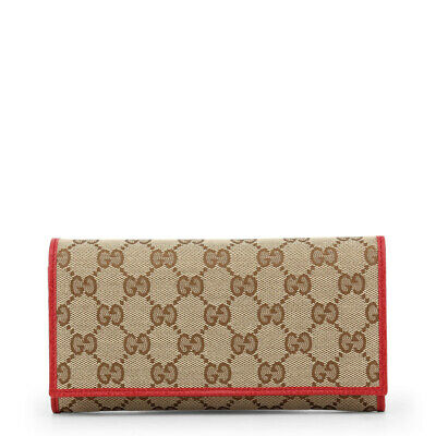 a2d728b03b2 GUCCI WOMEN S AUTHENTIC NEW Beige GG Canvas and Red Leather Wallet ...