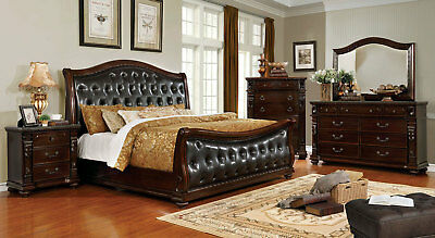 Marble Bedroom Set >> Ruby 5 Piece Traditional Brown Wood Marble Bedroom Set W King Size Sleigh Bed