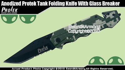 Camouflage Tank Design Handle Spring Assisted Open Knife Tactical Folding Blade