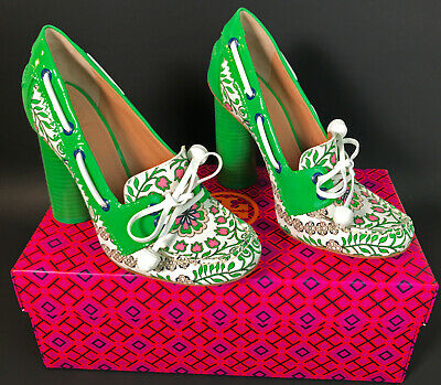 092b1a3b7 NEW TORY BURCH Fisher Patent Leather Garden Party Green   White Shoe ...