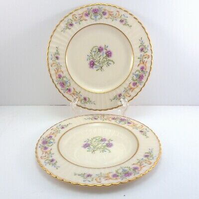 Lenox Cinderella Bread and Butter Plates Set of 2 Pink Floral V-308 Old 6.25""