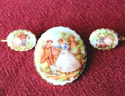 VINTAGE HAND PAINTED PORCELAIN BROOCH AND EARRINGS perfect condition.