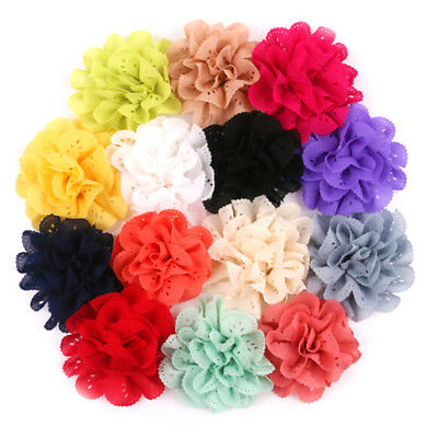 7PCS Baby Girls Bows Chiffon Flower Without Clip Hand Craft DIY Baby Headwear Pg