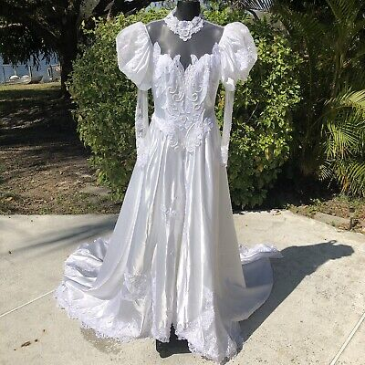 Vintage Wedding Dress Sz Small White High Neck Puff Long Sleeve 1980s Victorian